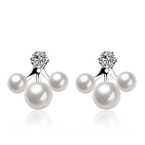 Mother's Day Gifts drop earrings 2-Ways Wearing Pearl Earrings Mothers Day Platinum Plated Earstud Post Cherry Style Pierced Ear Jacket ()