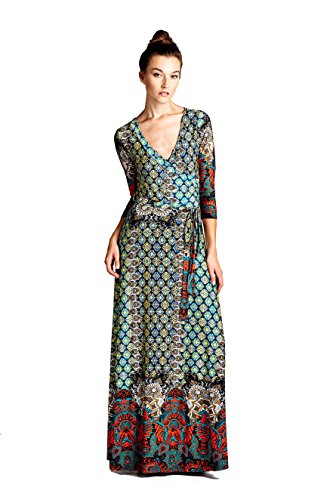On Trend Paris Dress Bohemian 3/4 Sleeve Long Maxi Dress Medium Multicolor