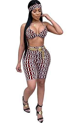 VLUNT Women Sexy 2 Piece Set Bra Crop Top and Bodycon Short Pants Outfits Beachwear with Headband (Headband 2 Piece)