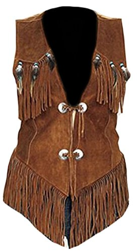 - Classyak Women's Western Suede Leather Vest Suede Brown Large