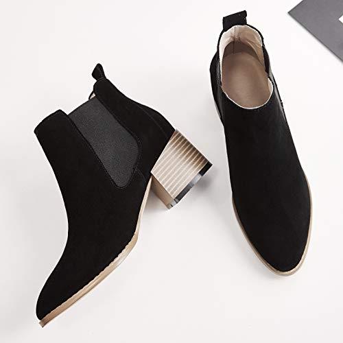 Annieshoe Botas Cuero Elegantes Negro Vestir Chelsea Mujer Otoño Fashion Bottines De Tacon w1wqnF6xrS