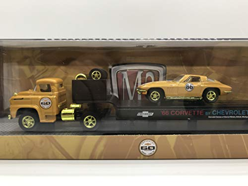 M2 Machines Gold Wheels Chase Car Auto-Haulers 1958 Chevrolet LCF & 1958 Chevrolet Impala 60 Years Turbo Fire Edition S15 15-07 Yellow Details Like NO Other! Over 42 Parts