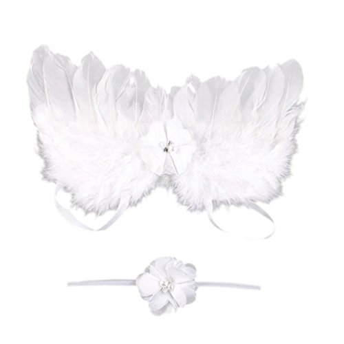 Cute Angel Costumes (DZT1968® Baby Girl Flower Headband With Angel Feather Wing Photo Prop Costume (White))