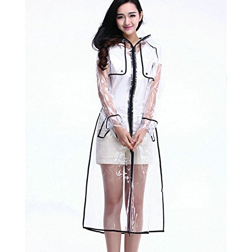 Ezyoutdoor Women's Raincoat Lightweight Belted Rain Jacket Transparent