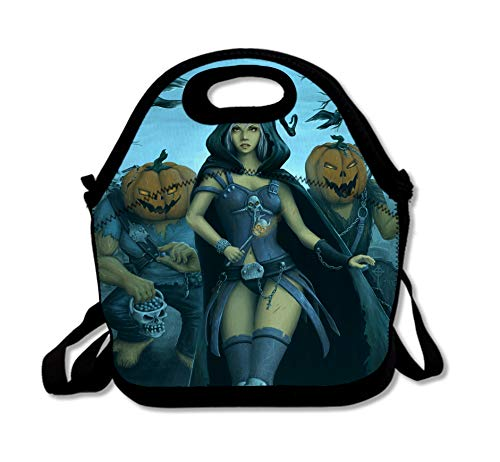 SARA NELL Neoprene Halloween Lunch Bag Insulated Halloween Night Witch and Monster with Pumpkin Face Lunch Tote Lunch Bags Lunchbox Handbag with Adjustable Shoulder Strap for Work School Picnic -