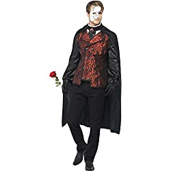 Smiffy's Men's Dark Opera Masquerade Costume, Cape, Mock Shirt, Mask, Gloves and Faux Rose, Carnival of the Damned, Halloween, Size M, 24574