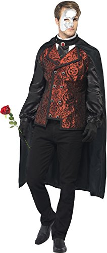 Masquerade Costumes - Smiffy's Men's Dark Opera Masquerade Costume, Cape, Mock Shirt, Mask, Gloves and Faux Rose, Carnival of the Damned, Halloween, Size M, 24574