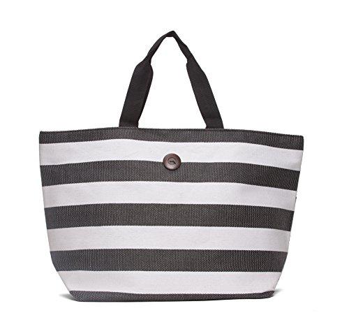 Capelli Straworld Toyo Striped Tote Bag - Black/White