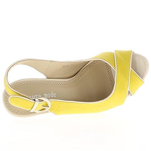 Morado y blanco bicolor talón sandalias de plataforma y 14,5 cm