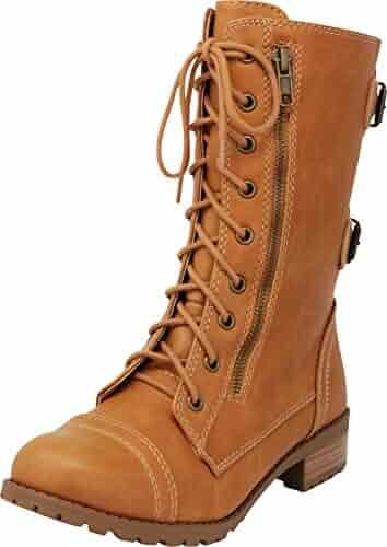 133481945 Cambridge Select Women s Round Toe Lace-up Buckle Zipper Chunky Heel Combat  Boot
