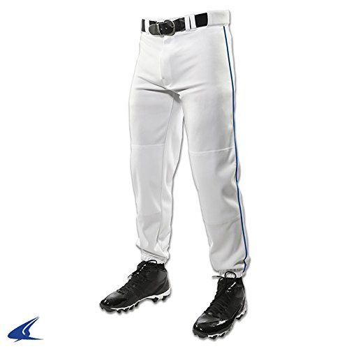 White   Royal Piping Large CHAMPRO Youth Triple Crown Dugout Baseball Pant with Braid