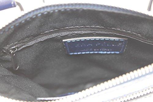Chicca Blu Tracolla Borsa Vera 100 Da Pelle Tutto Donna Moda Italy In Made Con Ctm Elegante 22x24x4cm rqArS4pw