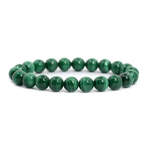 Natural Green Malachite Gemstone 8mm Round Beads Stretch Bracelet 7