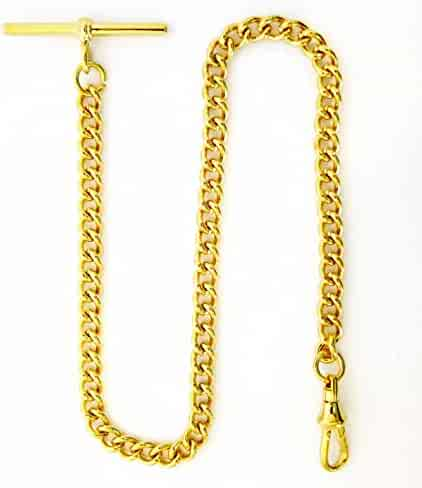 Dueber Yellow Gold Plated Stainless Steel Pocket Watch Chain with T Bar