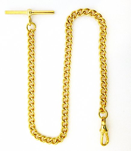 Dueber Yellow Gold Plated Stainless Steel Pocket Watch Albert Chain with T Bar