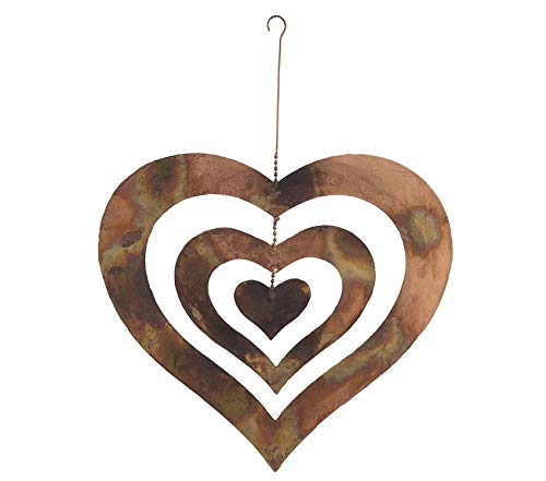 Garden Decors Premium AG-87052 13'x12' 13' Hanging Flamed Triple Heart Spinning, 13 by 12 by 13'