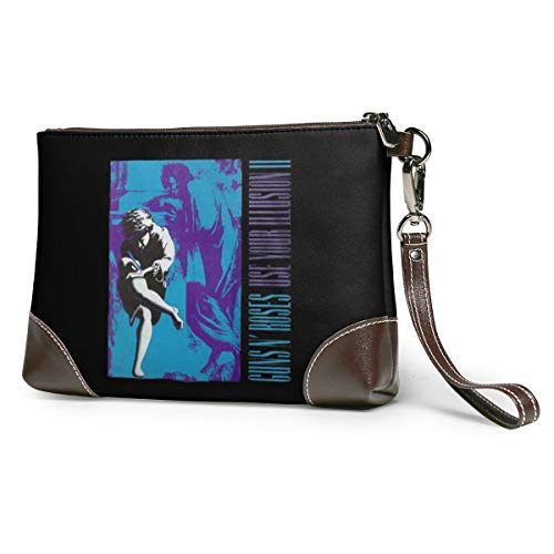 Phetop Guns-N'-Roses-Use-Your-Illusion-II Unisex Leather Clutch Wrist Wallet Zipper Coin Purse