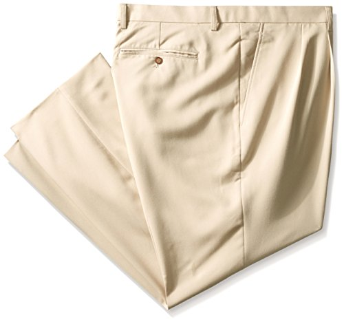 Microfiber Resistant Pants Water (Cutter & Buck Men's Big and Tall Twill Microfiber Pleated Pant Unhemmed, Khaki, 44)