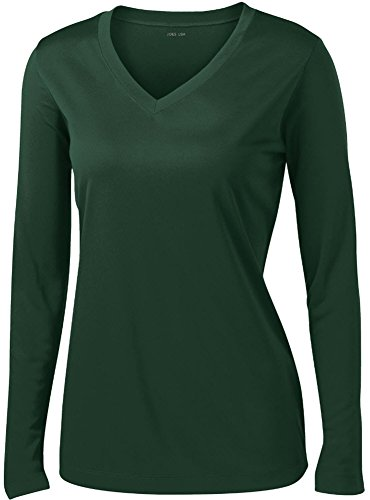 Joe's USA tm - Ladies Long Sleeve Moisture Wicking Athletic Shirts, Forest Large (Top Sleeve V-neck Long Tank)