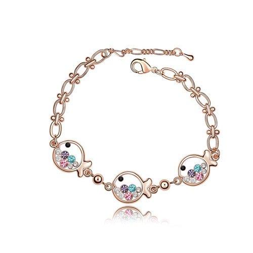 Bracelet Diamonds Sweet (Royarebar Elegant Cosmetics Bracelet Austria Crystal Bracelet Fish Princess Design Sweet Diamond Bracelet(Colorful))