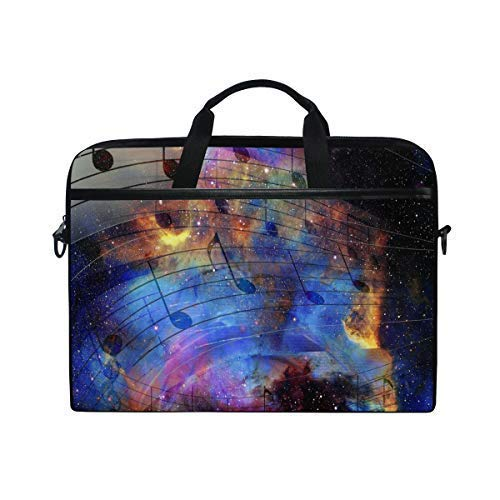 MRMIAN Fashionable Starry Sky Music Note Score 15 inch Laptop Case Shoulder Bag Crossbody Briefcase Messenger Sleeve for Women Men Girls Boys with Shoulder Strap Handle, Back to School Gifts (Music Book Carrying Case)