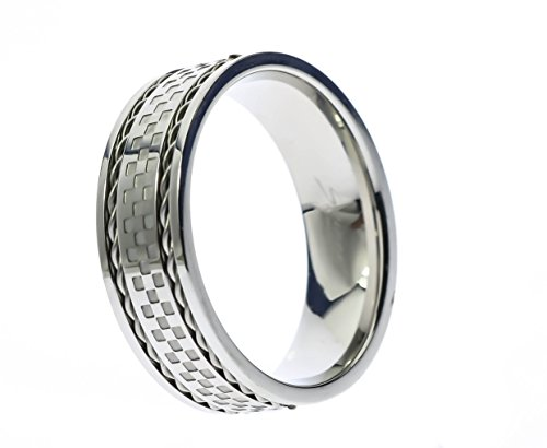 Sujak Jewelry Checkered Checker Center with Double Braided Lines Stainless Steel Men's Ring Size -