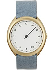 slow O 13 - Swiss Made one-hand 24 hour watch - Gold with light blue leather band