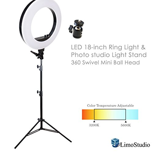 LimoStudio LED 18 Inch Ring Light with Camera Adapter and Height Adjustable Light Stand Tripod and 360 Swivel Mini Ball Head Tripod Mount, AGG1299V2 by LimoStudio