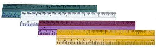 Charles Leonard Plastic Ruler, 6 Inches, Assorted Colors (9 Each Green/Red/Yellow/White), 36 Count  (80640)