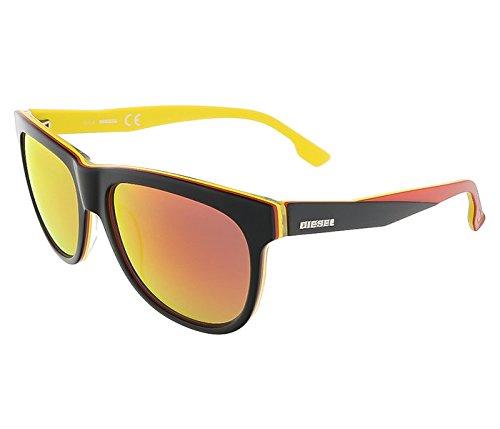 Diesel DL0112/S 05U Black/Yellow&Red Wayfarer sunglasses for - Red Diesel Sunglasses