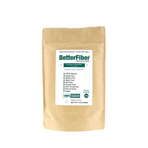 BetterFiber – Prebiotic Fiber Supplement [100% Generic Equivalent of Leading Brand] ⊘ Non-GMO ❤ Gluten-Free ☮ Vegan ✡ OU Kosher Certified – 17.6oz/500g (125 Servings)