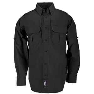 5.11 Tactical #72157 Cotton Tactical Long Sleeve Shirt (Black, X-Small)
