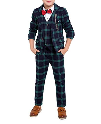 Boys Black Red Green 3 Colors Plaid Suit 3 Pieces Jacket Vest Pants Size 2T - 10 (4T, ()
