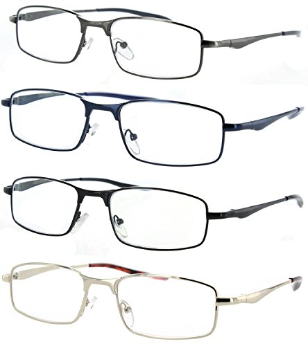 Fiore Metal Reading Glasses 4 pack with Spring - Glasses Fashionable Mens Reading
