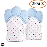 Excellent  DorAn Baby Silicone Mitts Teething Mitten Silicon Glove Newborn Chewable Toy Nursing Mittens Teether Infant BPA Free Toys for Children 2 Pack (Blue)