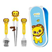 Edison Friends Spoon Fork Chopsticks Set w/Travel Case | Kids Eating Utensils | Kids Spoons and Forks Set | Kids Chopsticks Training | training chopsticks for kids | Utensils Kids Chpsticks Helper