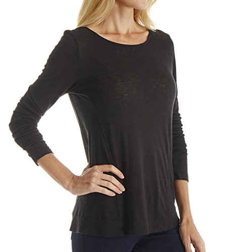 Splendid Womens Slub Long Sleeve Black T-Shirt SM (Womens 2-4)