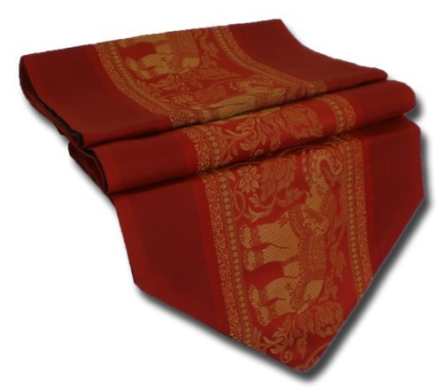 tablecloth tablerunner table runner linen Thai Silk Elegant Elephant many colors black blue red winered brown white gold purple green two sizes 150 cm or 200 cm long TC001-TC010 (red, 150 cm x 33 cm) by by soljo