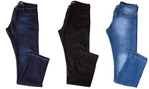 Kit com 3 Calças Jeans Sarja Masculina Skinny Slim com Lycra - Jeans Escuro, Preta e Claro - 42
