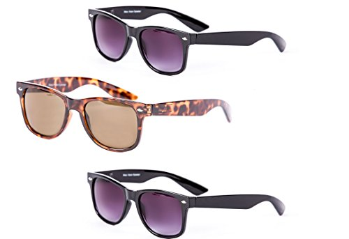 3 Pair of Classic Wayfarer Full Reading Sunglasses - Outdoor Reading Sunglasses NOT Bifocals - Soft Pouches Included (Black/Tortoise, 2.5 x)