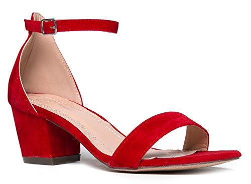 J. Adams Daisy Mid Heel Sandal Red 5.5 B(M) US