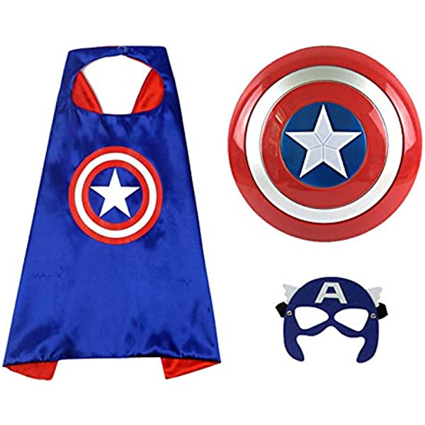 Kids Superhero Cape And Mask Fancy Dress Costume Captain America Children Outfit