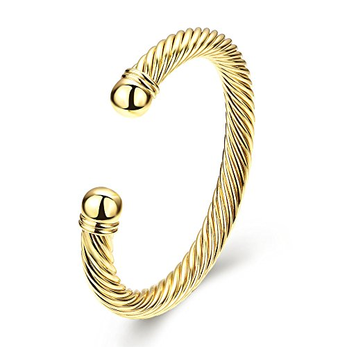 Zhiwen Simple Cuff Bracelet 18K Real Gold Platinum Plated Fine Bangle Bracelet Cable Wire Twisted Cuff Bangle Bracelets for Women Men (Cuff Wire)