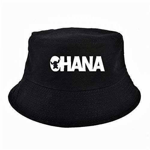 Ohana Letter Bucket Hats Hunting Fishing Outdoor Safari Fishing Cap Summer Unisex Sun Blue
