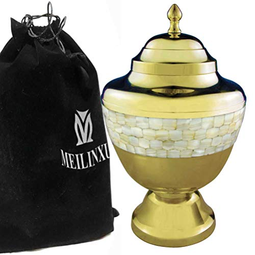Brilliance Metal Nickel Pearl - MEILINXU - Funeral Urns for Adults Ashes, Cremation Urn for Human Ashes - Memorials Urns for Ashes - Display Burial Urn at Home or in Niche at Columbarium (Golden Mother of Pearl, Adults Large Urn