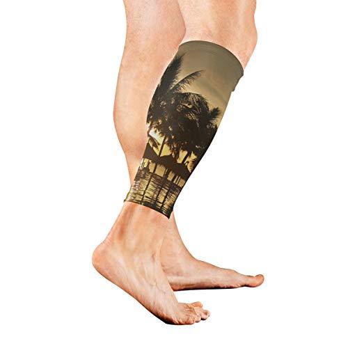 Leg Sleeve Palm Tree Summer Compression Socks Support Non Slip Calf Sleeves Pads for Running, Shin Splint, Calf Pain Relief, Runners, Medical, Air Travel, Nursing, Cycling 1Pair