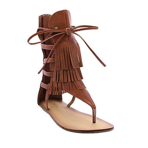 (Liliana Avis-4 Women's Flat Lace Up 3 Layers Fringe Flip Flop Gladiator Sandal,Tan,6.5)
