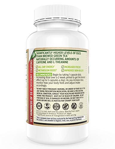 Organic Matcha Capsules - Powerful Antioxidant Energy Booster that Aids Focus - 500mg - 150 Easy-to-swallow Vegan Green Tea Pills - High in EGCG - 100% Organic Matcha - Not from Extract