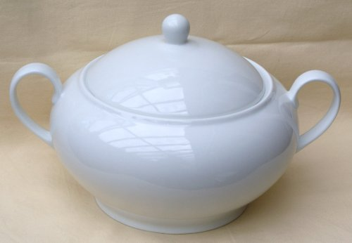 Terrine rund mit Deckel Porzellan weiß 3 L.