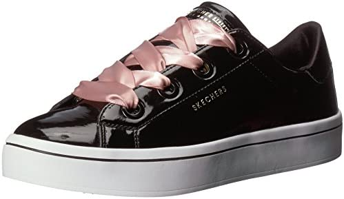 Skecher Street Women's Hi Lite Patent Lace Sneaker, Black, 8